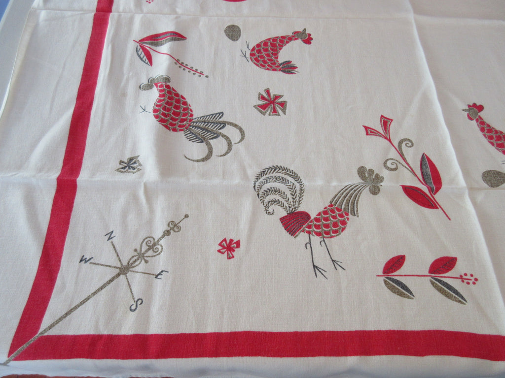 Shabby Red Gold Chickens Roosters Novelty Vintage Printed Tablecloth (49 X 48)