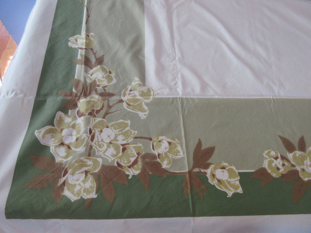 CHP Shabby Magnolias on Green Floral Vintage Printed Tablecloth (70 X 52)
