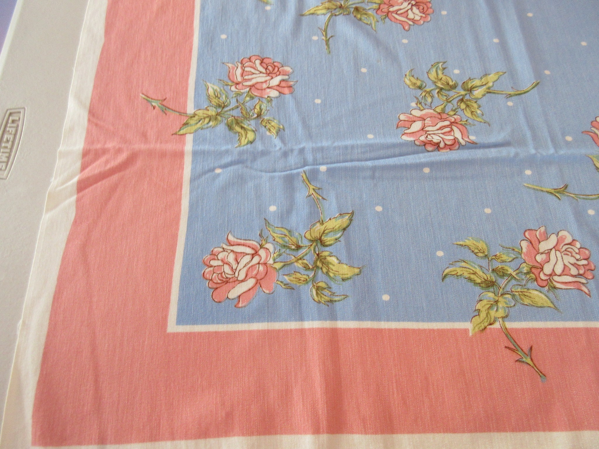 Pink Roses Polkadots on French Blue Greenaway? Floral Vintage Printed Tablecloth (51 X 43)