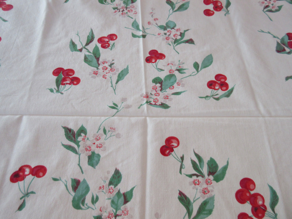 Wilendur Red Green Cherries Fruit Vintage Printed Tablecloth (54 X 48)