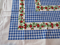 Scarlet Red Green Roses on Blue Gingham Napkins Floral Vintage Printed Tablecloth (55 X 45)