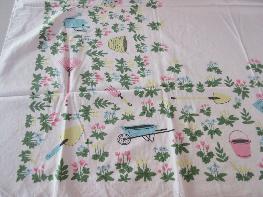 Shabby Pastel Gardening Tools Novelty Vintage Printed Tablecloth (51 X 42)