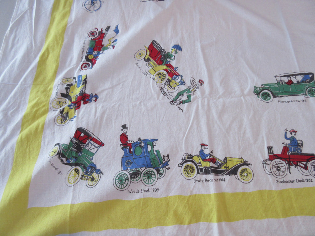 Antique Cars on Yellow Novelty Vintage Printed Tablecloth (63 X 50)