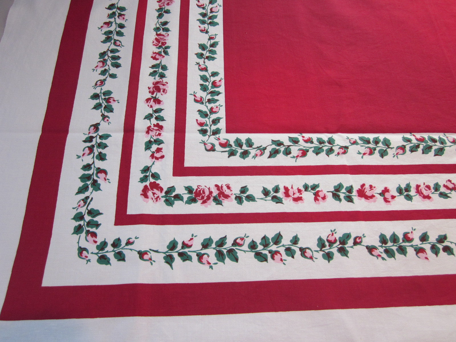 Pink Green Roses on Red Floral Vintage Printed Tablecloth (50 X 47)