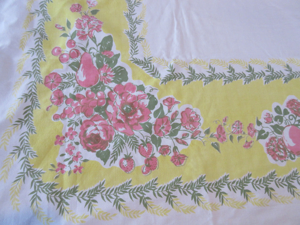 Pink Roses Fruit on Lemon Yellow Floral Vintage Printed Tablecloth (62 X 51)