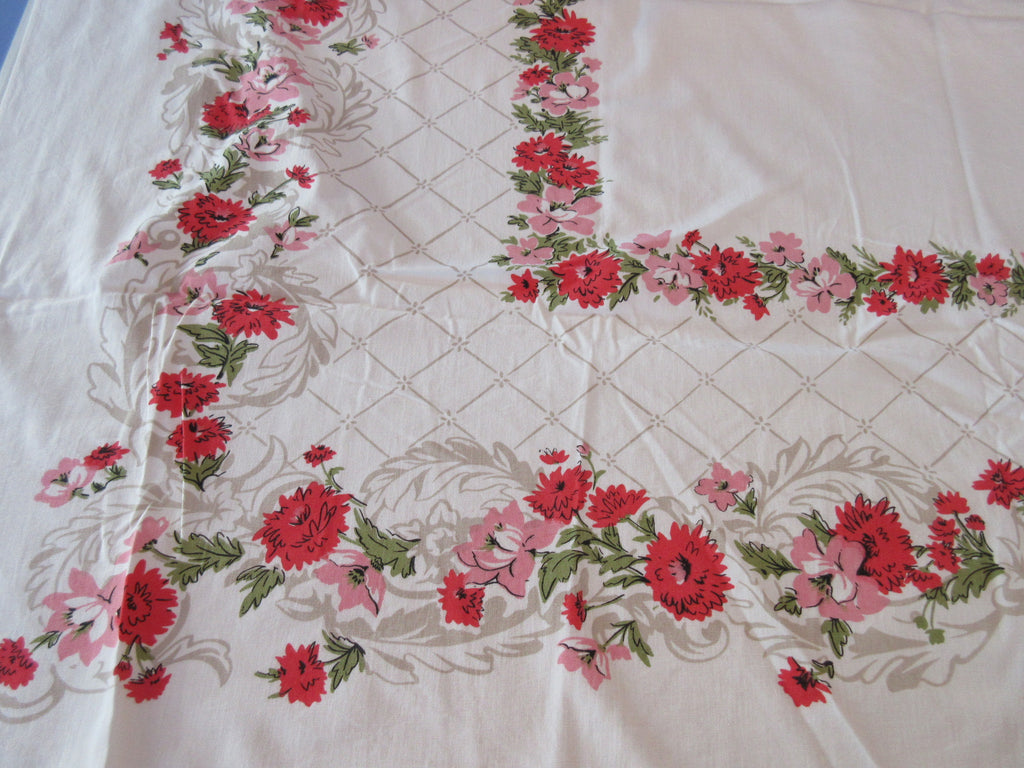 Pink Red Green Carnations on Taupe Fence Floral Vintage Printed Tablecloth (53 X 44)