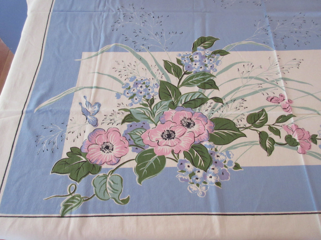 Larger Pink Flowers on French Blue Floral Vintage Printed Tablecloth (51 X 47)