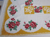 Red Green Roses on Gold Floral Vintage Printed Tablecloth (64 X 49)