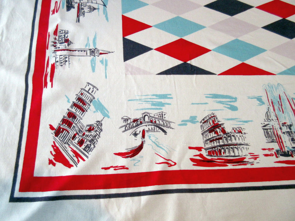 Italy Italian Scenes Harlequin Diamonds Novelty Vintage Printed Tablecloth (57 X 51)