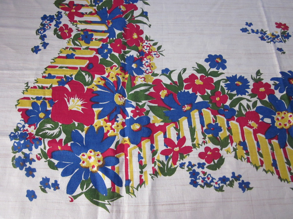 Early Primary Red Blue Green Flowers Fence MWT Vintage Printed Tablecloth (53 X 52)