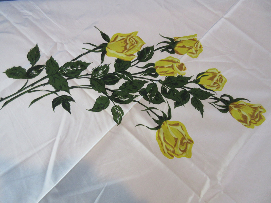 CHP Yellow Green Roses MWT Floral Vintage Printed Tablecloth (54 X 53)