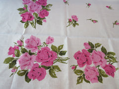 Valentine's Pink Green Roses MWT Floral Vintage Printed Tablecloth (70 X 52)