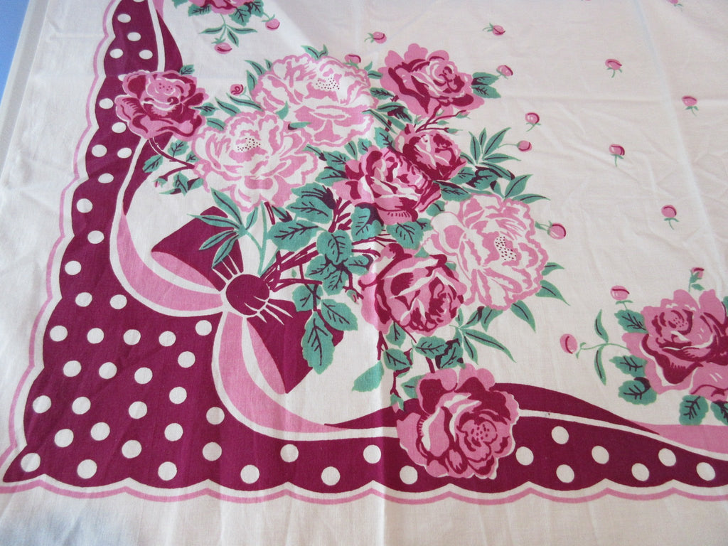 Valentine's Pink Magenta Roses and Bows Floral Vintage Printed Tablecloth (48 X 47)