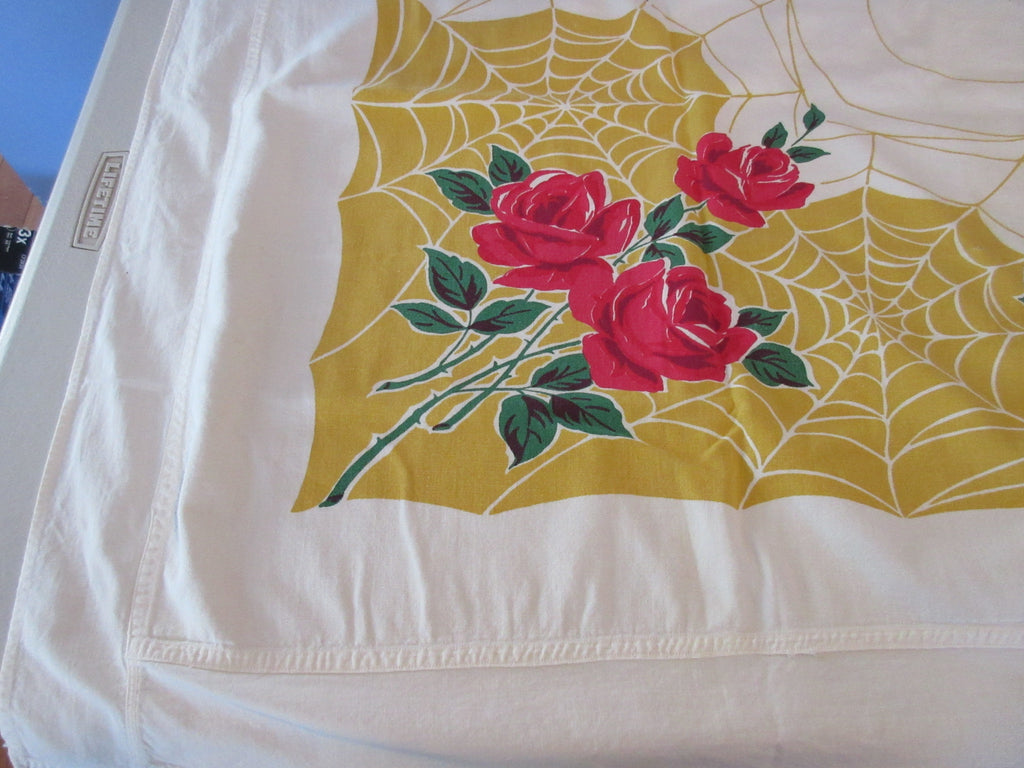 Amended Red Roses on Gold Yellow Spiderweb Floral Vintage Printed Tablecloth (57 X 49)