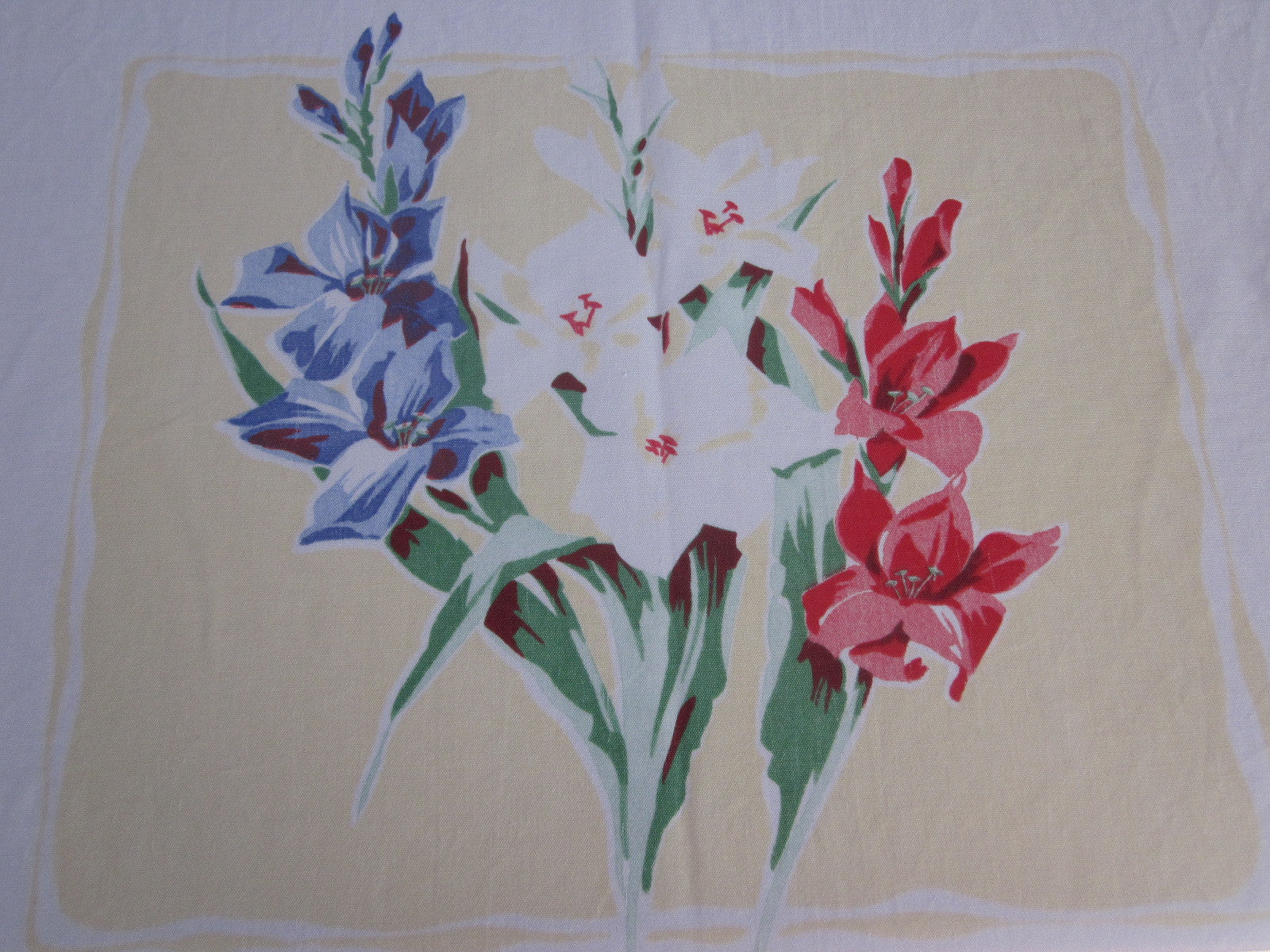 Pink Blue Green Gladioli on Yellow Floral Cutter? Vintage Printed Tablecloth (54 X 42)