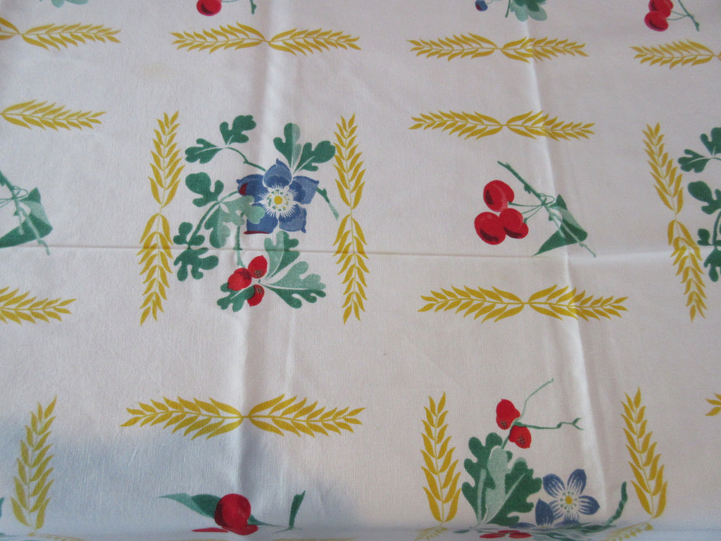 Wilendure Cherries Blueberries Wheat Fruit Vintage Printed Tablecloth (66 X 54)