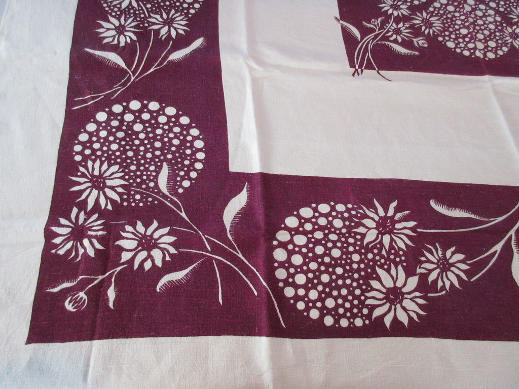 Early Reverse Printed Mod Dandelions Linen Floral Vintage Printed Tablecloth (53 X 51)