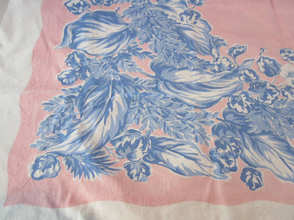 Blue Tulips Leaves on Pink Cutter?  Floral Vintage Printed Tablecloth (49 X 42)