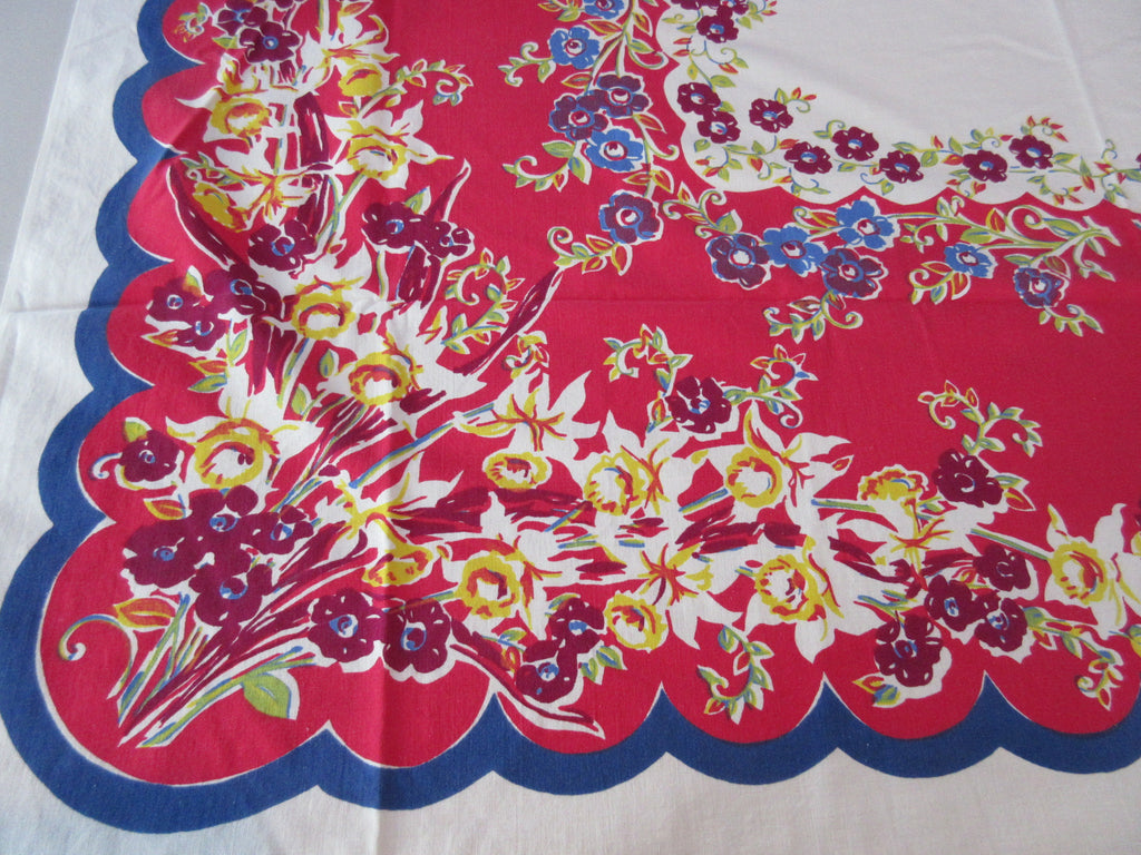 Early Primary Yellow Daffodils on Red Blue  Floral Vintage Printed Tablecloth (48 X 48)