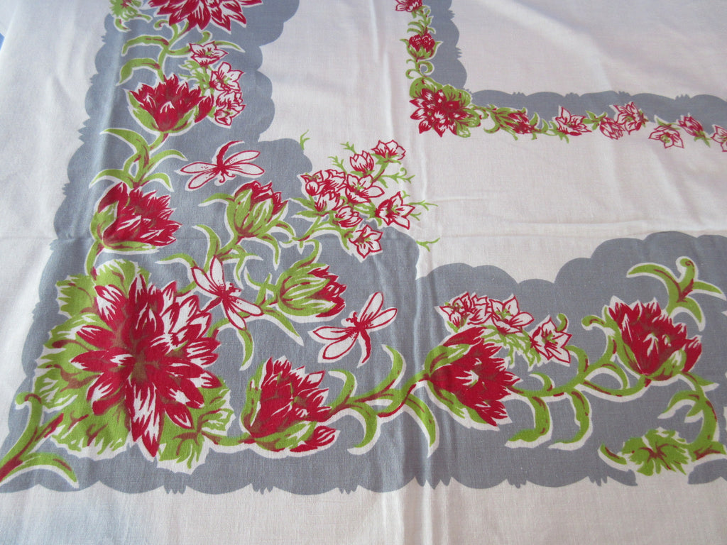 Red Green Waterlilies Dragonflies on Gray Floral Vintage Printed Tablecloth (71 X 53)