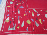 Imperfect Calder Mobile on Red Linen Novelty Vintage Printed Tablecloth (66 X 48)