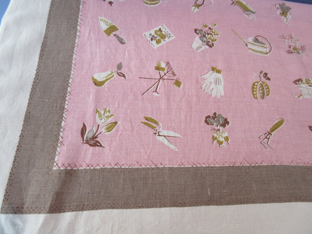 Gardening Tools on Pink Tan Linen Novelty Vintage Printed Tablecloth (50 X 50)