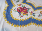 Red Yellow Roses on Blue Scallops Floral Vintage Printed Tablecloth (54 X 45)
