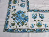 Unwashed Linen Cross Stitch Pilgrims Novelty Vintage Printed Tablecloth (52 X 51)