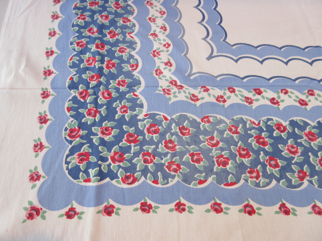 Petite Red Roses on Blue Scallops Floral Vintage Printed Tablecloth (51 X 47)