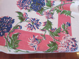 Blue Green Chrysanthemums Mums on Pink Floral Vintage Printed Tablecloth (62 X 50)