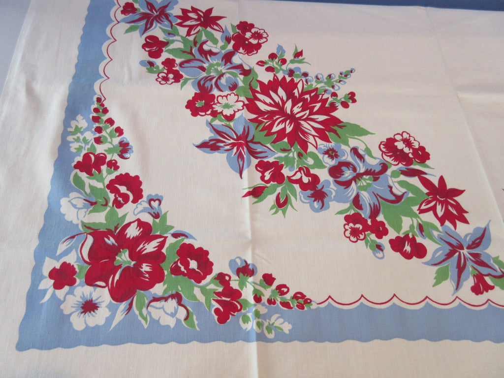Unwashed Red Green Dahlias Petunias on Blue Floral Vintage Printed Tablecloth (50 X 49)