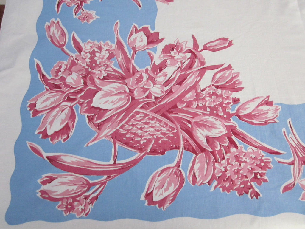 Pink Blue Tulips Daffodils Floral Vase Vintage Printed Tablecloth (52 X 44)