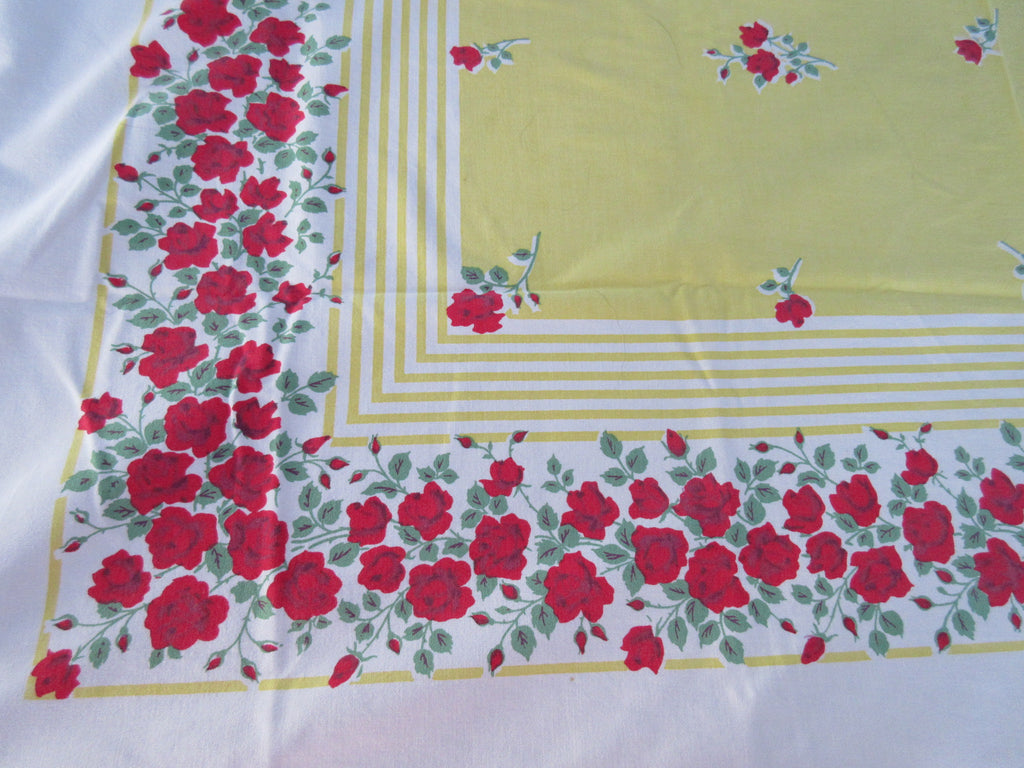 Red Roses on Yellow Stripes Center Floral Vintage Printed Tablecloth (52 X 47)