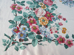 Fine Linen Bright Color Roses Center Floral Vintage Printed Tablecloth (52 X 49)