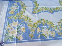 Yellow Daylilies on French Blue NWOT Floral Vintage Printed Tablecloth (50 X 48)