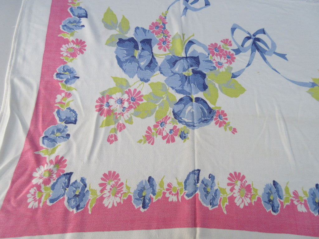 Larger Rayon Blue Poppies on Pink Floral Vintage Printed Tablecloth (62 X 50)
