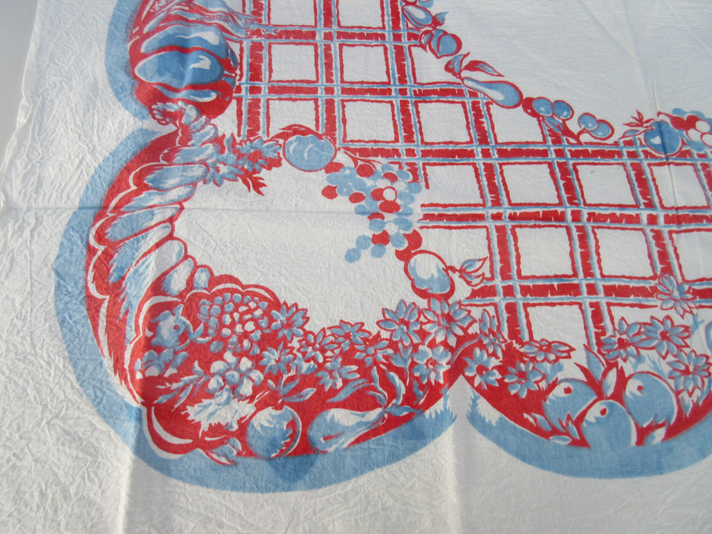 Sheeting Patriotic Red Blue Fruit Grid Vintage Printed Tablecloth (48 X 47)