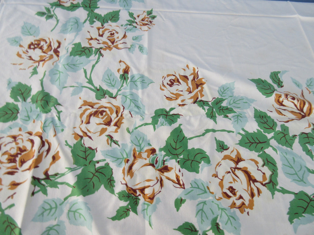 Shabby Yellow Roses Cutter? Floral Vintage Printed Tablecloth (58 X 47)