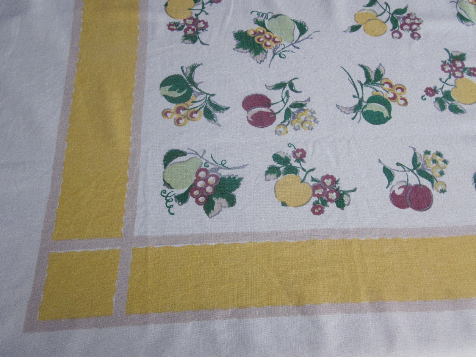 Shabby Startex Fruit on Yellow Vintage Printed Tablecloth