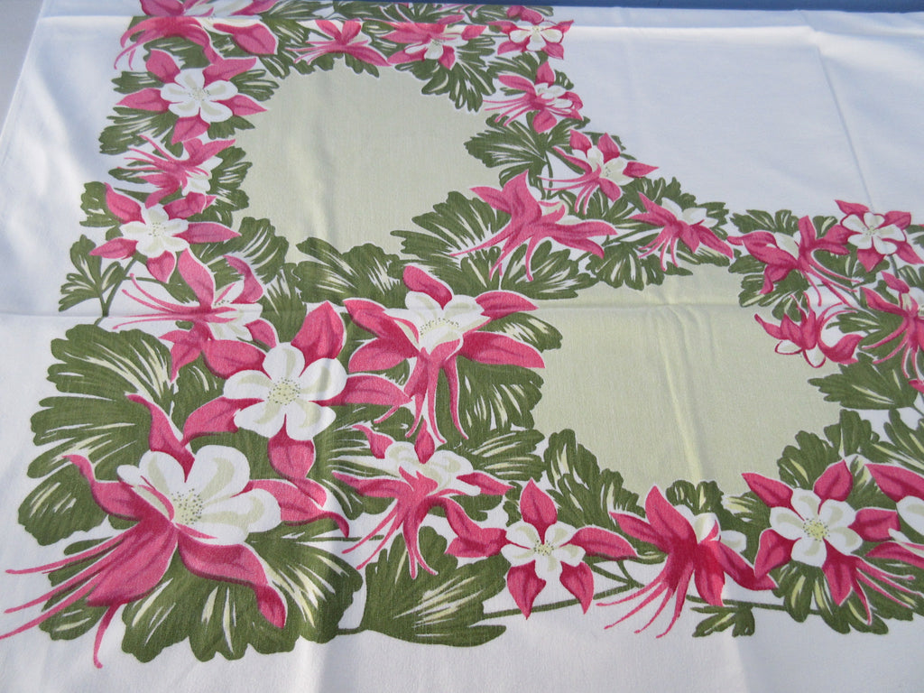 Shabby Pink Columbines on Green Floral Vintage Printed Tablecloth (51 X 42)