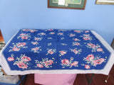 Shabby Pink Poppies on Blue Cutter Floral Vintage Printed Tablecloth (50 X 45)