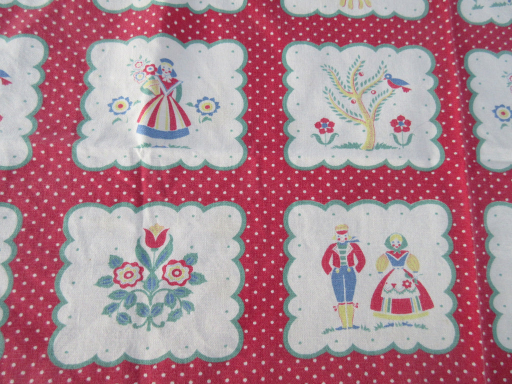 Faded Folks Sheep PA Dutch Topper Novelty Vintage Printed Tablecloth