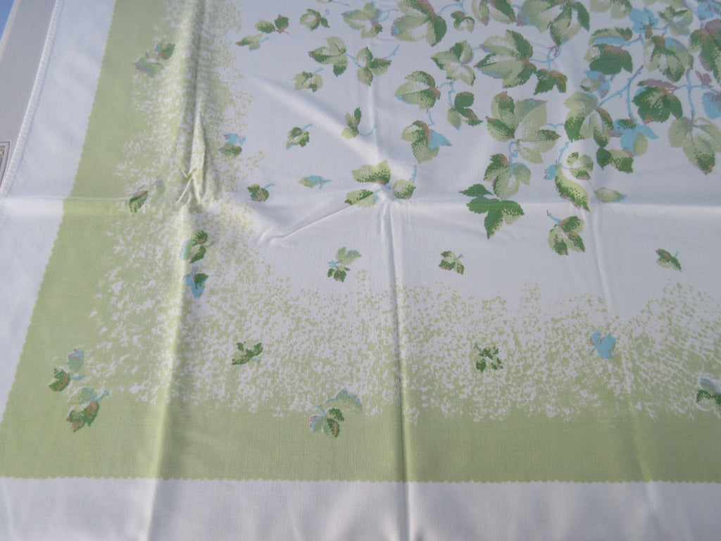 Green Aqua Ivy Leaves Novelty Vintage Printed Tablecloth (58 X 51)