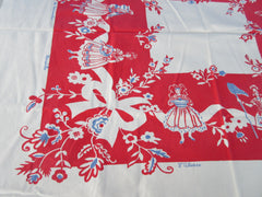 European Ladies National Dress Topper Novelty Vintage Printed Tablecloth (41 X 34)