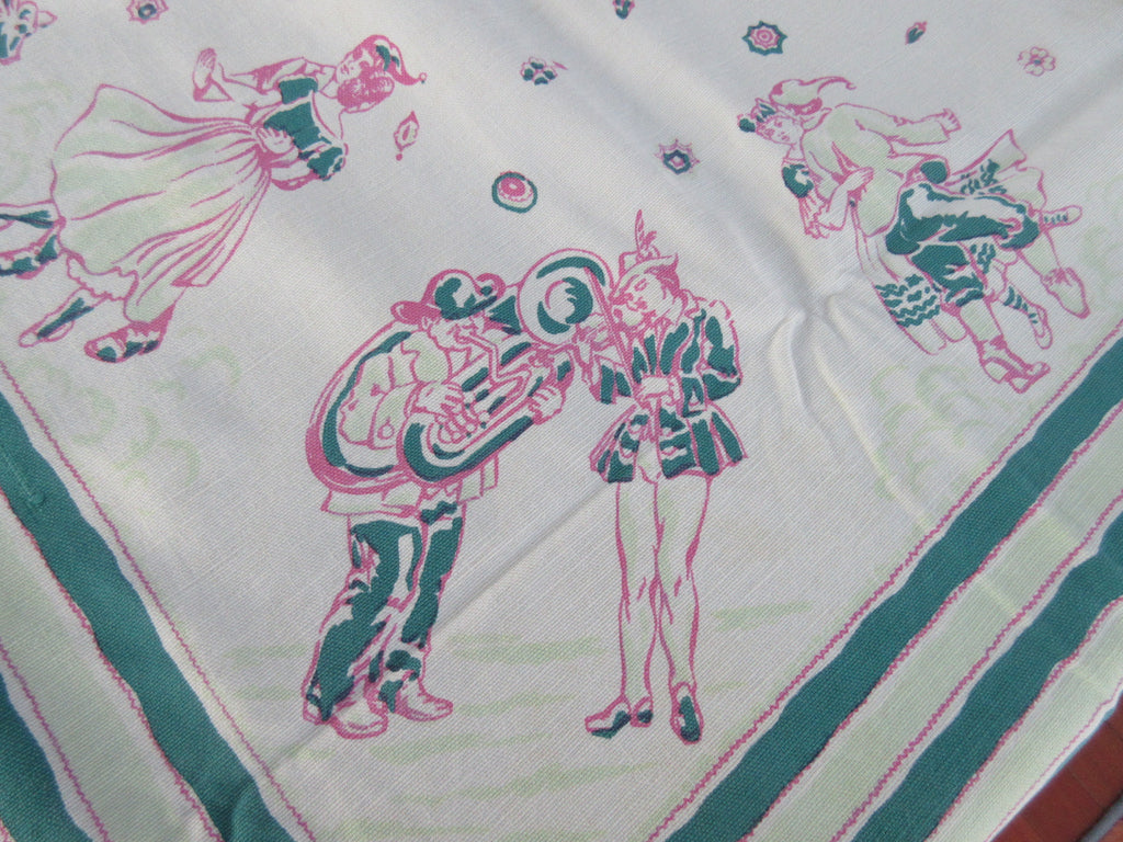 Octoberfest German Dancers Dog Novelty Vintage Printed Tablecloth (50 X 44)