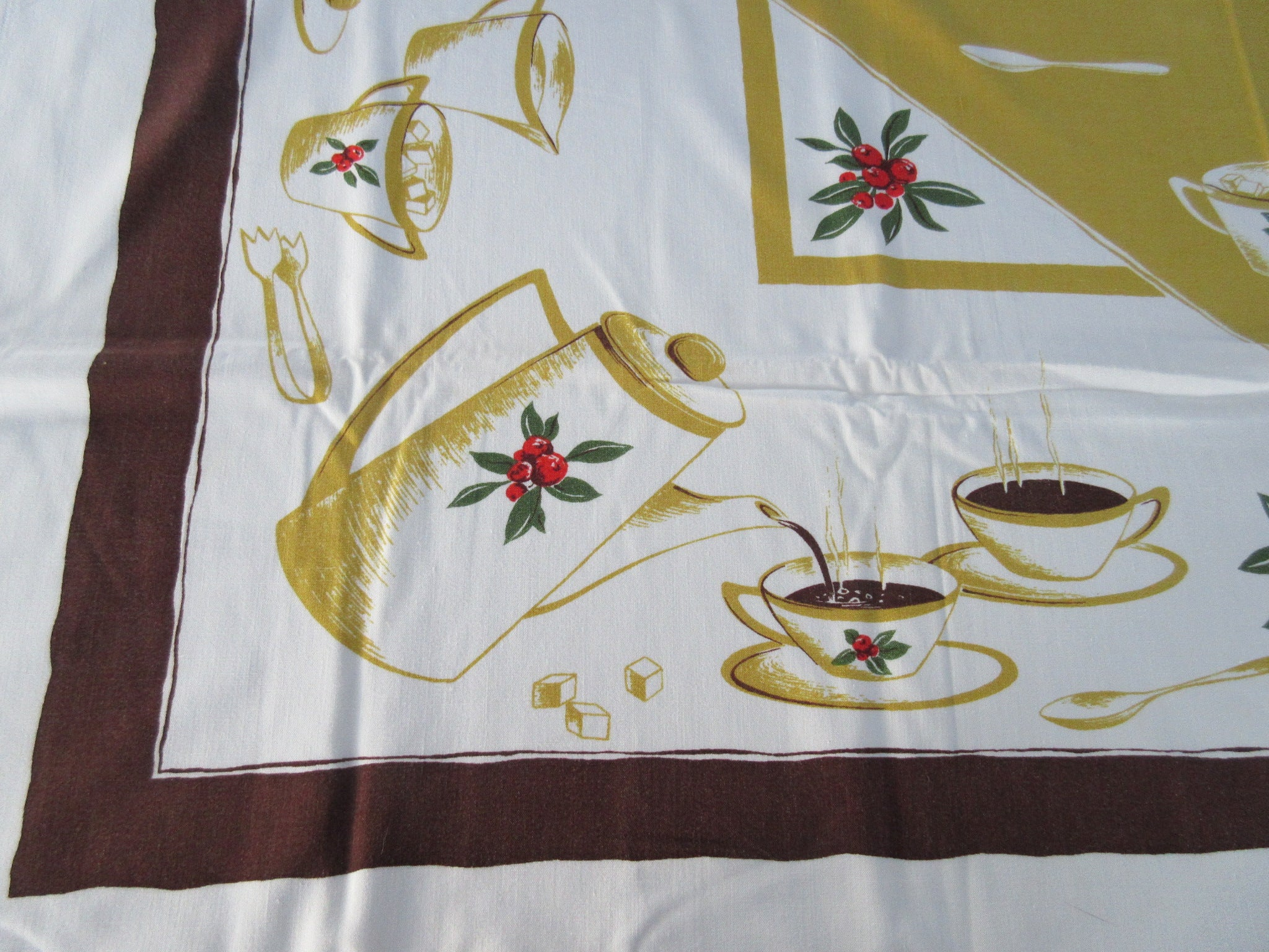 HTF Calaprint Coffee on Gold Brown Novelty Vintage Printed Tablecloth (51 X 46)