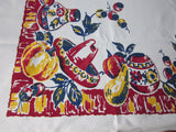 Heavy Primary Early Mexican on Red Novelty Vintage Printed Tablecloth (68 X 58)