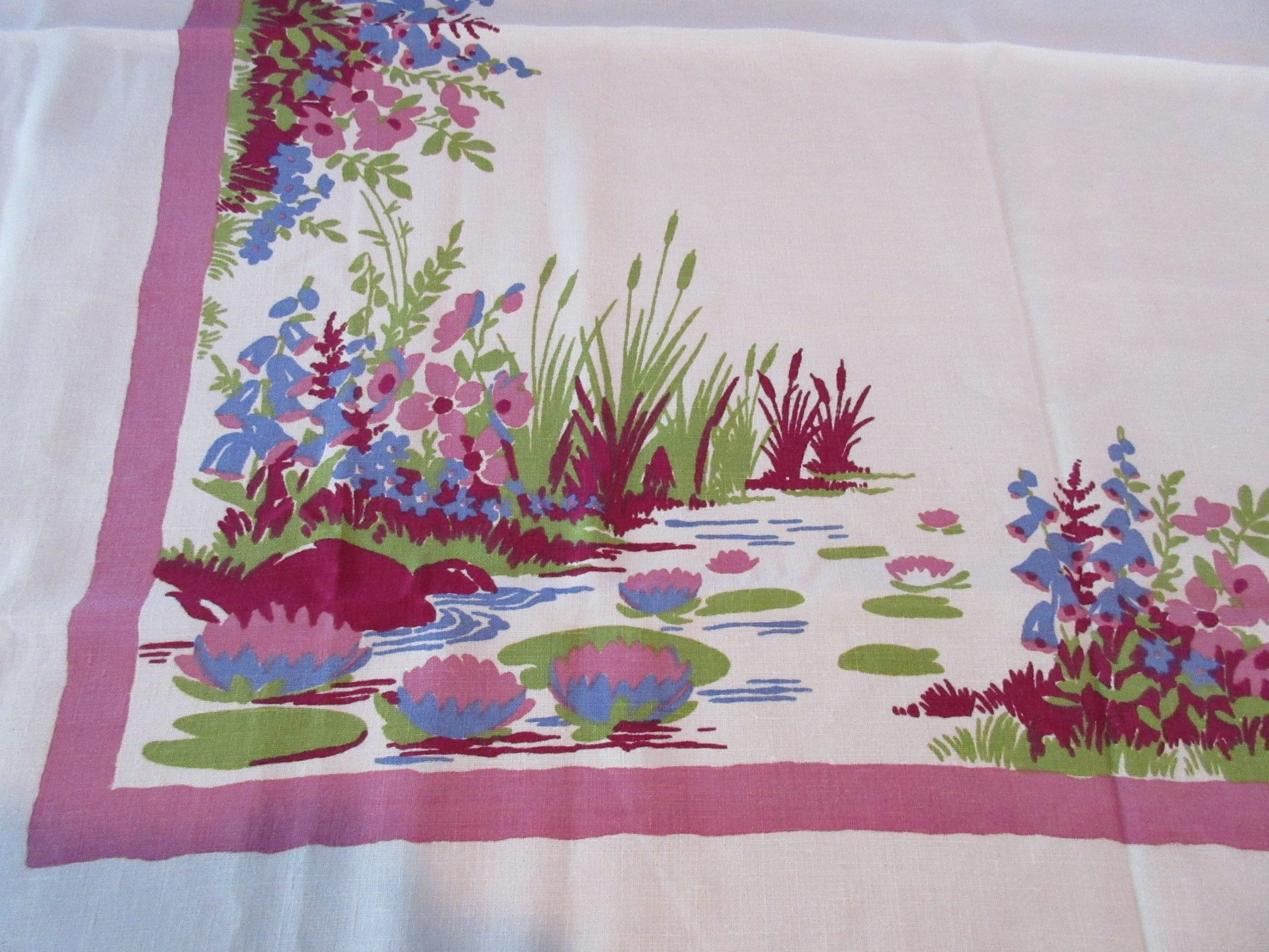 PofF Pond Marsh Bullrushes Linen Napkins Novelty Vintage Printed Tablecloth (53 X 51)