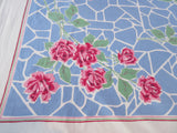 Big Pink Roses on French Blue Spiderweb Floral Vintage Printed Tablecloth (65 X 49)