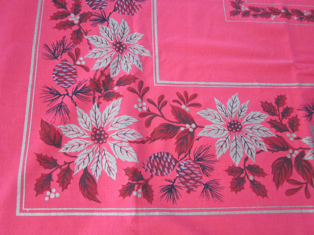 Large Red Gold Christmas Poinsettia Vintage Printed Tablecloth (85 X 56)